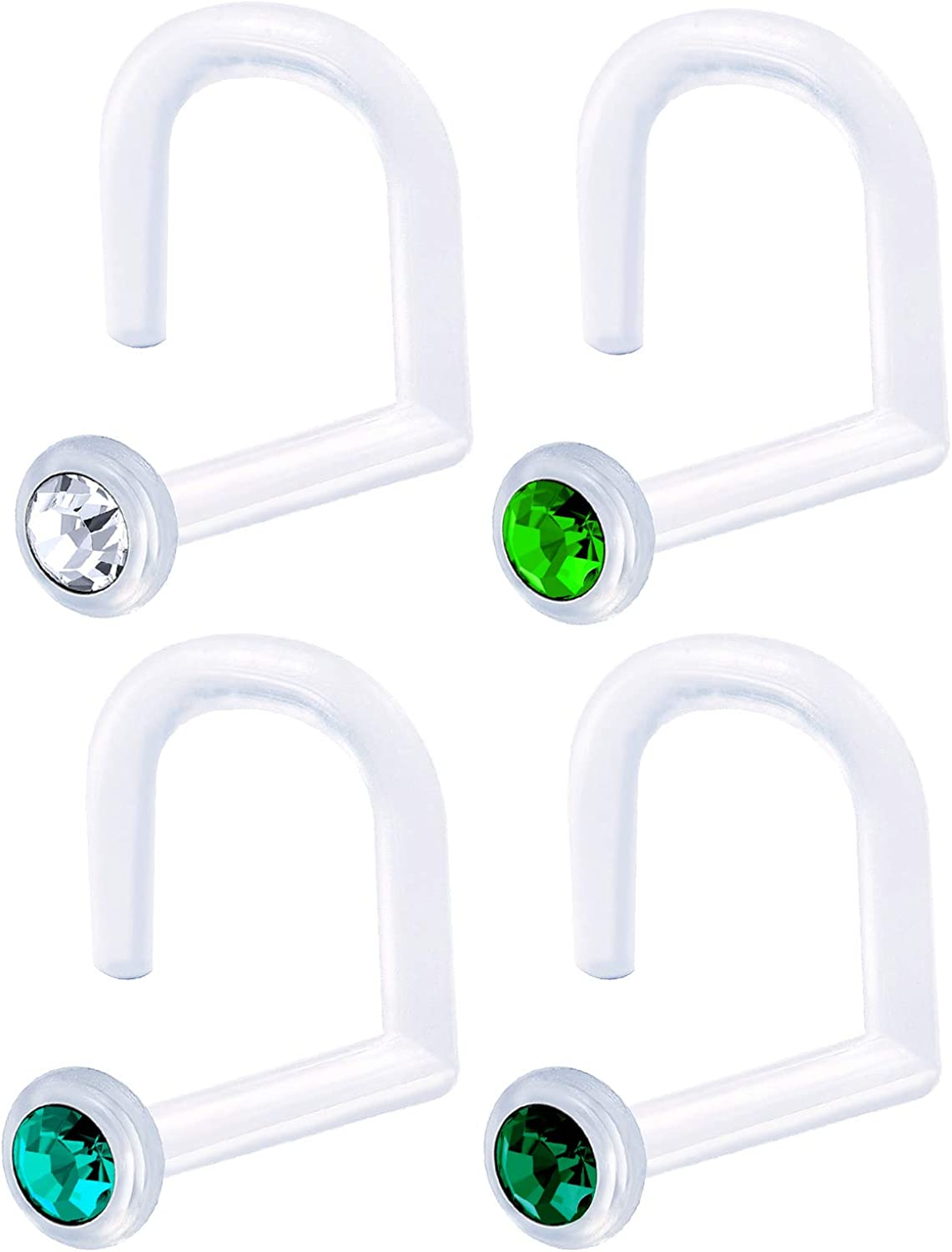 MATIGA 4Pcs Flexible Clear 18 Gauge 9/32 7mm Stud Nose Ring Screw Piercing Jewelry 1.5mm Round Crystal More Choices
