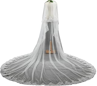 2 Tier long Wedding Veil Lace Edge Cathedral Bridal Wedding Veil with Metal Comb - coolthings.us