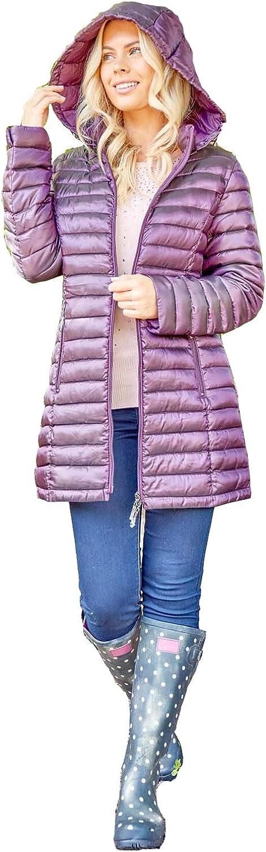 Roman Originals Women Zip Through Padded Longline Coat - Ladies - Purple 12