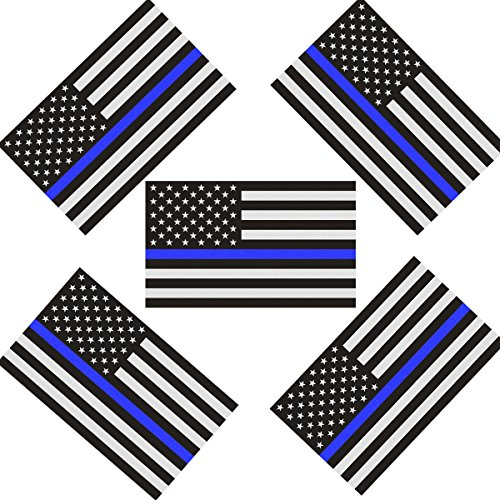 Reflective US Flag Decal Packs with Thin Blue Line for Cars & Trucks, 5 x 3 inch American USA Flag Decal Sticker Honoring Police Law Enforcement Vinyl Window Bumper Tape (5-Pack)