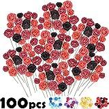 COOKOA Rose Artificielle - 100 Fausses Fleurs Artificielles pour Décoration de Salle de Mariage et Centre de Table - Faux Bouquet avec Tiges et Feuilles - Rouge, Blanche, Bleu pour Lettres Mur
