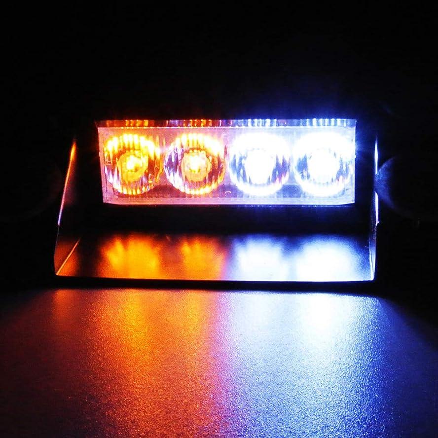 誇大妄想些細終わらせるLEDストロボライト-LEAGUE&CO 4LED 3点滅モード警告ストロボランプバー 車 トラックダッシュボードバイザー インテリアルーフ/ダッシュ/フロントガラスW / 4サクションカップ対応 (ホワイト&イエロー)