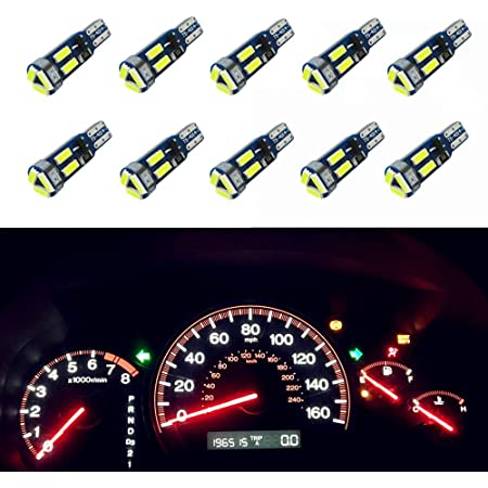 Partsam Pack of 10 Bulbs T5 74 37 2721 White LED Bulbs 3-SMD Instrument Panel Gauge Cluster Replacement Lamp