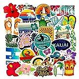 WUWEI Pegatinas de Dibujos Animados de Playa de Hawaii para monopatín, Nevera, Guitarra, portátil, Equipaje, Juguete DIY, álbum de Recortes, 50 unids/Set
