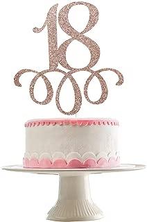 Rose Gold Glittery 18 Cake Topper- 18th Birthday Party Decorations - Birthday Party Cake Decor