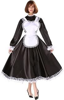 Sissy Girl Maid Lockable Medium Length Satin Dress Uniform Crossdresser