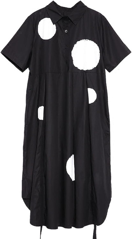 HORUES New Spring Lapel Short Sleeve dot Printed Back fold Split Joint Loose Shirt Dress Women Fashion Tide