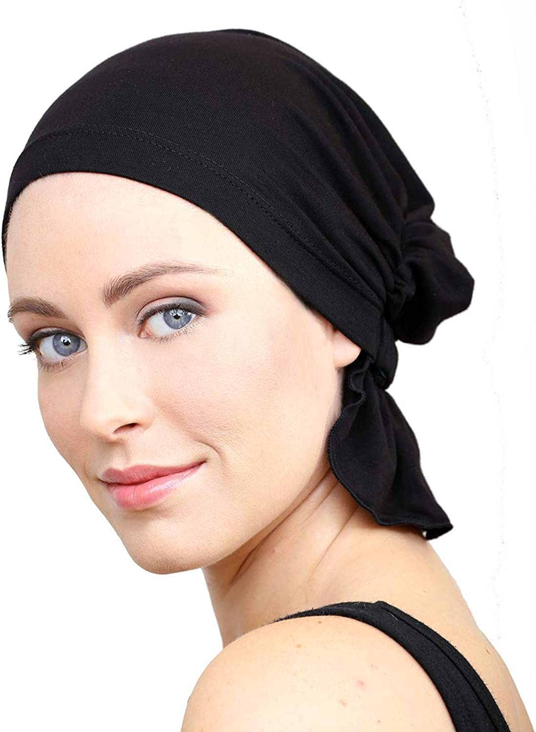 Mimi by Chemo Beanies (Black BAMBOO Cotton)