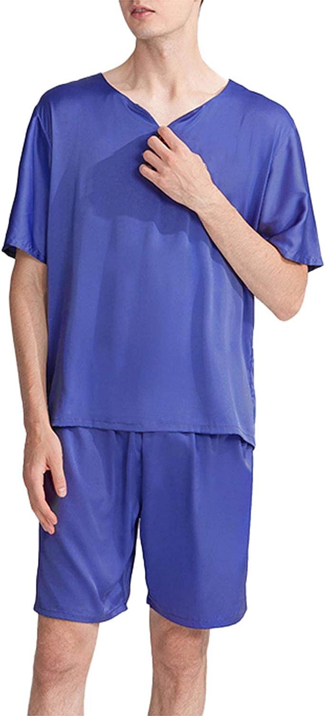 FMOGG Men's Pajamas Set Short Sleeve Satin Crew Neck Lounge Nightwear Top and Bottom Classic Sleepwear Pjs Set Plus Size
