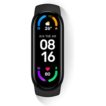 """Xiaomi Mi Smart Band 6, 50% Larger 1.56"""" AMOLED Screen, SpO2 Tracking, Continuous HR, Stress and Sleep Monitoring, 30 Sports Modes, PAI, Women's Health, Quick Replies, 5ATM Water Resistant, Black"""