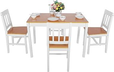 Omabeta Table de salle à manger en bois de pin pour cuisine, salle à manger, salon