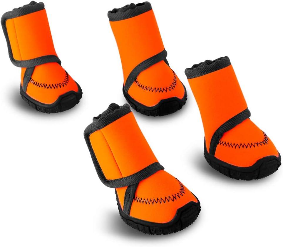 Petbobi Waterproof Dog Shoes Fluorescent Orange Dog Boots Adjust