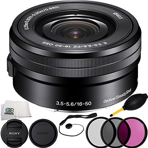 Sony E PZ 16‑50mm f/3.5‑5.6 OSS (White Box) + 6PC Bundle Includes 3 Piece Filter Kit (UV-CPL-FLD) + Cap Keeper + Lens Dust + Microfiber Cleaning Cloth