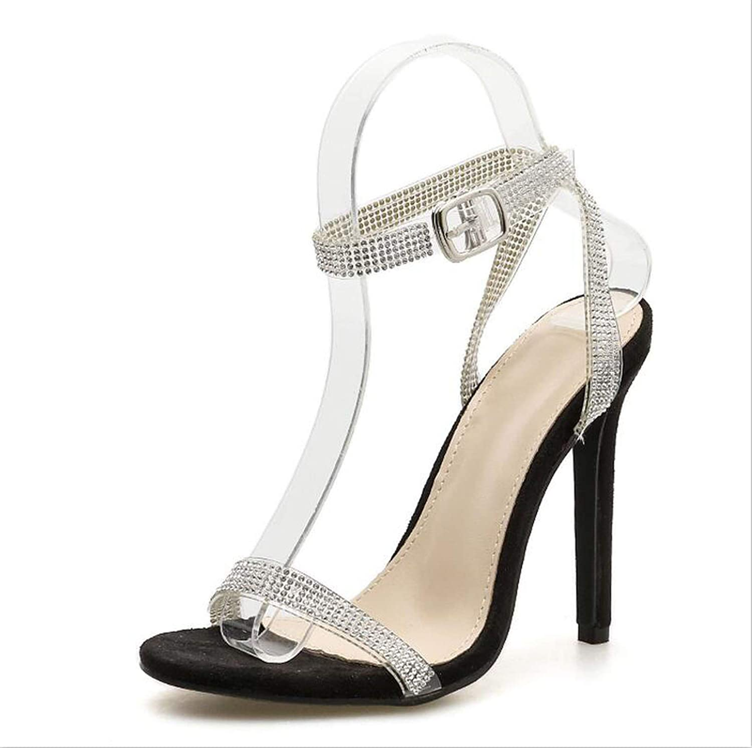 Hi Monkeys-Ssandals Sexy Silver Crystal Bling Women Sandals Buckle Strap Women shoes Thin Heels