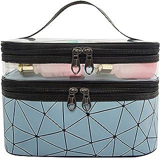 Make-upkoffer, draagbare dubbellaagse make-uptas, modieuze ruitvormige waterdichte PU + pvc-cosmetische tas met grote capa...