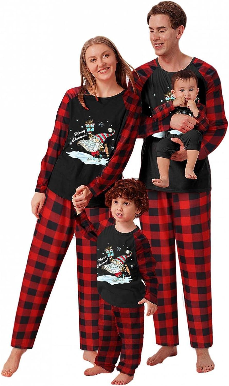 Christmas Pajamas for Family 2021 Matching Family Xmas Sleepwear Sets Snowmen Red Plaid Holiday Nightwear Tops Pants