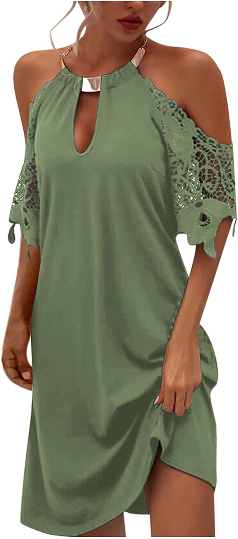 Aniwood Summer Dresses for Women,Women's Sleeveless Halter Neck Print Tunic Casual Mini Tank Dress Beach Party Sundress