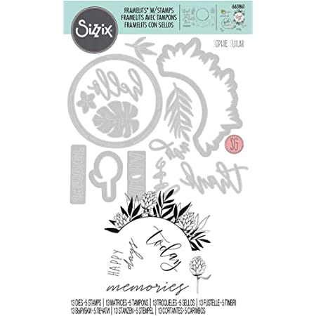 Sizzix Matrice de découpe Framelits/Tampons set de 13pcs Éléments tropicaux détaillés de Sophie Guilar, Multicolore, Taille unique
