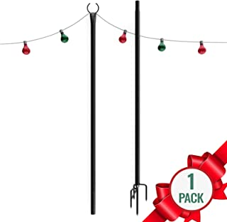 Holiday Styling Outdoor Christmas Lights Pole (1 x 9ft) – Sturdy Steel Powder Coated for Hanging Decorations + Ornaments - Light Up Garden or Yard w LED Solar String Light Décor – Great Gifts for Mom