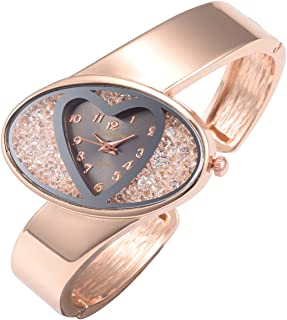 Top Plaza Womens Ladies Fashion Rose Gold Bangle Cuff Bracelet Watch Heart Shape Dial Elegant Analog Quartz Dress Watch #2