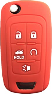 KAWIHEN Silicone Keyless Entry Case Cover Smart Remote Key Fob Cover Protector For Chevrolet Camaro Cruze Equinox Impala Malibu Sonic OHT01060512 KR55WK50073(Orange)
