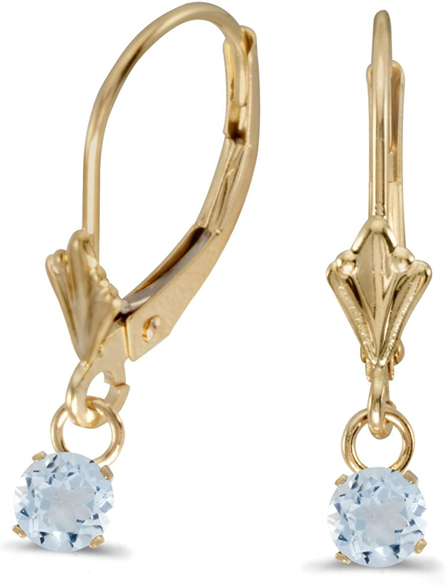 14k Yellow Gold 5mm Round Inventory cleanup selling sale Aquamarine OFFicial store Earrings Genuine Lever-back