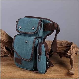 Men Canvas Waist Thigh Drop Leg Bag Travel Motorcycle Riding Fanny Pack Hip Bum Belt Bags Crossbody Shoulder Bags (Color : Blue)