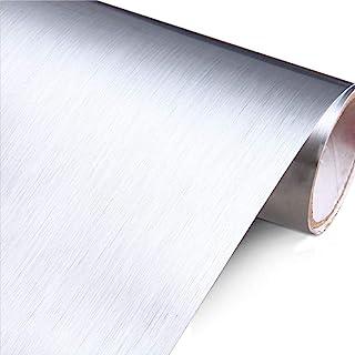 "YENHOME Silver Brush Wallpaper 24"" x 196"" Stainless Steel Peel and Stick Wallpaper for Appliances Fridge Dishwasher Remova..."
