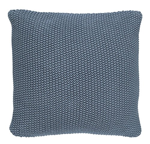 Marc O'Polo Nordic Knit Kissen, 100% Baumwolle, Smoke Blue, 50 cm x 50 cm