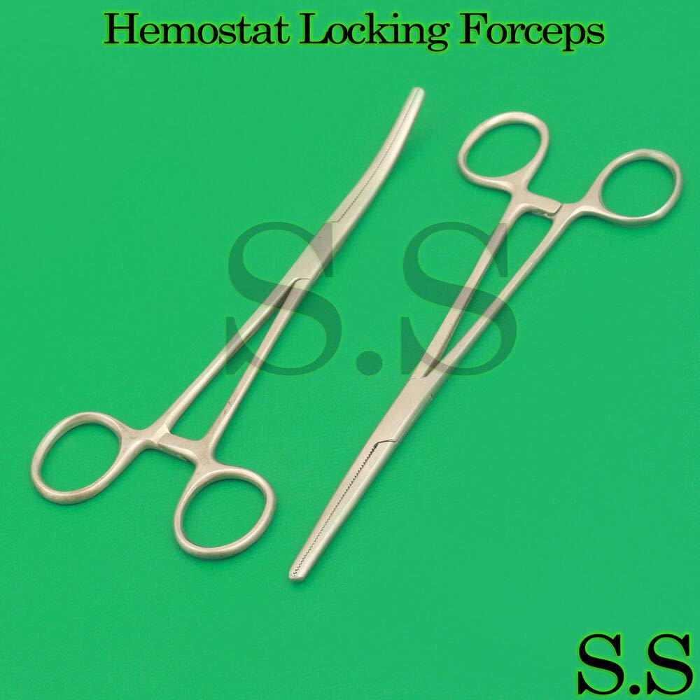 Straight + Curved Under blast sales Hemostat Forceps Clamps Stainless Locking EMT Recommended