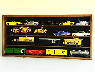 O Scale Train Display Case Cabinet Wall Rack w/ UV Protection- Lockable - Walnut
