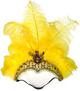 Fascinator Masquerade Ostrich Feather Headdress Dance Headdress Christmas Diamond Feather Headdress tire ( Color : Yellow )