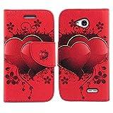 LG Ultimate 2 Case, LG Ultimate 2 Wallet Case, SOGA [Pocketbook Series] PU Leather Magnetic Flip Design Wallet Case for LG Ultimate 2 L41C / Optimus L70 - Red Lovely Heart