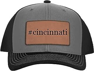 One Legging it Around #Cincinnati - Leather Hashtag Dark Brown Patch Engraved Trucker Hat