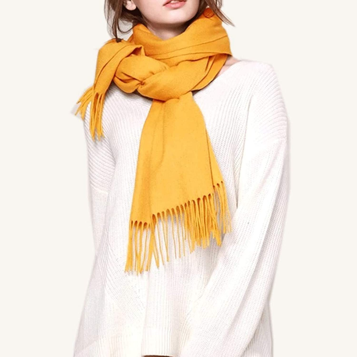 WXL Keep Warm Scarf Winter Wrap Woman 200cm×35cm Thicken Soft Shawl V (color   Yellow)