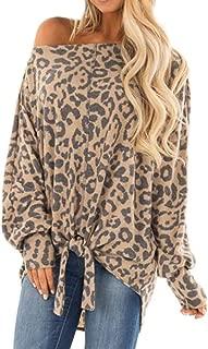 Winsummer Women's Leopard Print Tops Long Sleeve Twist Knot Tunics Top Blouse Casual Loose Shirts Blouses