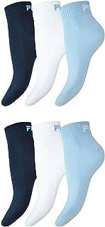 Fila, 6 pares de calcetines bajos deportivos Quarter Sneakers unisex, tallas 35-46, de color liso azul celeste 43-46