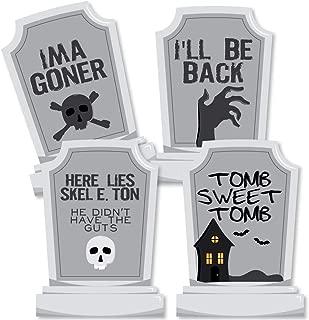 Big Dot of Happiness Graveyard Tombstones - Decorations DIY Halloween Party Essentials - Set of 20