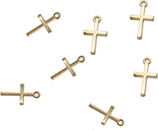Pomeat 200pcs Gold Plated Small Cross Beads DIY Charms Pendants Pendant Beads Charms for Art Craft Jewelry Making