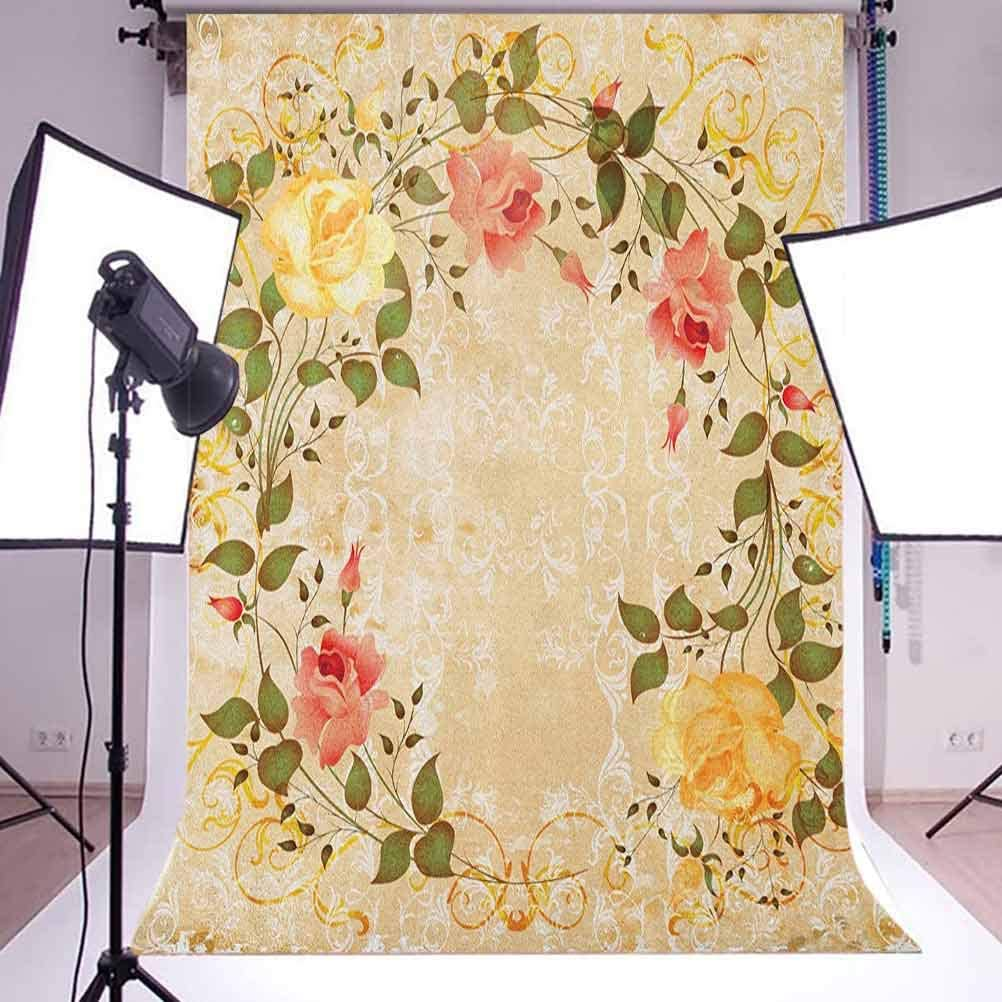 8x12 FT Geometric Vinyl Photography Backdrop,Portuguese Tiles Floral Themed European Culture Elements Colorful Plant Design Background for Baby Shower Bridal Wedding Studio Photography Pictures