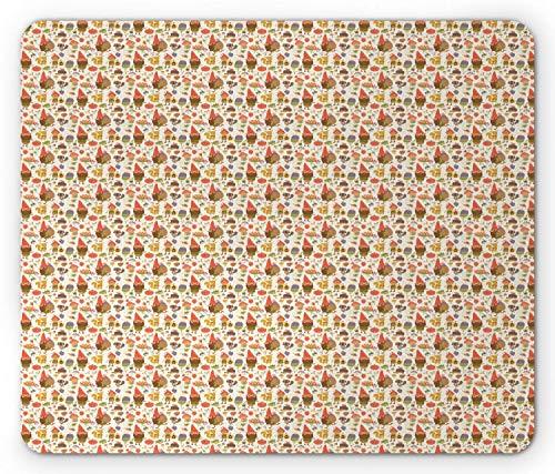 Printawe Fee Mauspad, Zwerge mit roten Hüten in der Waldkürbis Frosch Traube Ameise Waschbär Freude Traumwelt, Rechteck rutschfestes Gummi-Mauspad, Standardgröße, Mehrfarbig