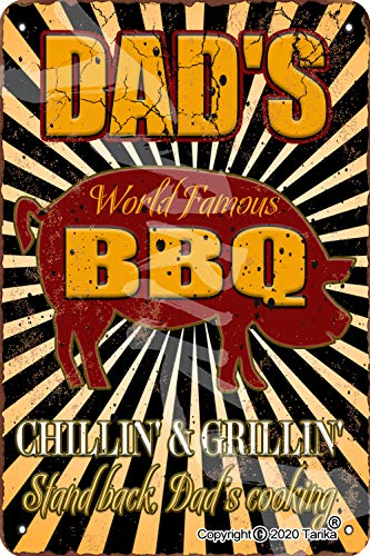 Dad S World Famous Bbq 20X30 CM Retro Look Tin Decoration Crafts Sign for Home Kitchen Bathroom Farm Garden Garage Inspirational Quotes Wall Decor