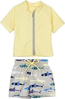 SwimZip Baby Boy Zipper Short Sleeve Rash Guard Swimsuit Set Shark Feast Yellow