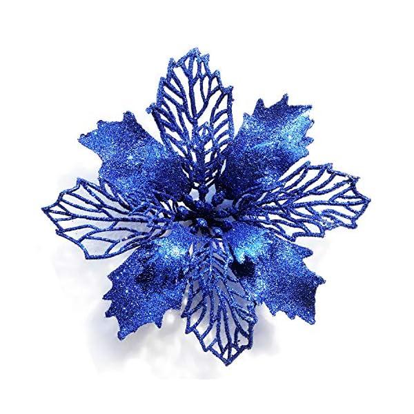 GL-Turelifes – Paquete de 12 flores de Pascua artificiales con purpurina para árbol de Navidad, corona de Navidad…