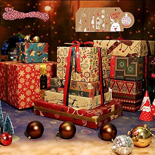 Navidad Papel de Regalo, 50*70cm Papel de Regalo Reciclable en 10 Diferentes Patrones de Papel Marrón para Navidad, Incluyendo Árboles de Navidad, Muñecos de Nieve, Copos de Nieve, Alces, Campanas