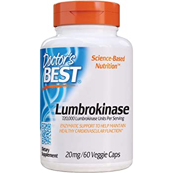 Doctor's Best Lumbrokinase, Cardiovascular Support, Circulatory Health, Blood Flow, Enzymes, 20 mg, 60 VC (DRB-00181)