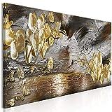 murando - Bilder Abstrakt 150x50 cm Vlies Leinwandbild 1 TLG Kunstdruck modern Wandbilder XXL Wanddekoration Design Wand Bild - Blumen Orchidee Textur grau Gold b-A-0766-b-a