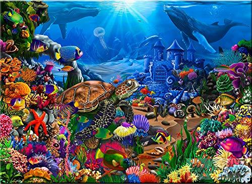 LINXIJH Malen Nach Zahlen Unterwasserwelt Ölgemälde Geschenk Für Erwachsene Kinder Malen Nach Zahlen Kits Home Haus Dekor16X20 Inches (40X50 cm)