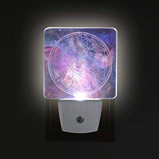 Sacred Geometry Space LED Night Lights with Auto Dusk to Dawn Sensor, Plug-in Warm White Lamp for Nursery Hallway Kids Room