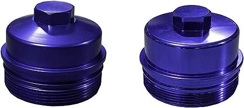 Billet Aluminum Oil & Fuel Filter Caps Fits 2008-2010 Powerstroke 6.4L Diesel 6.4 - Cobalt Purple